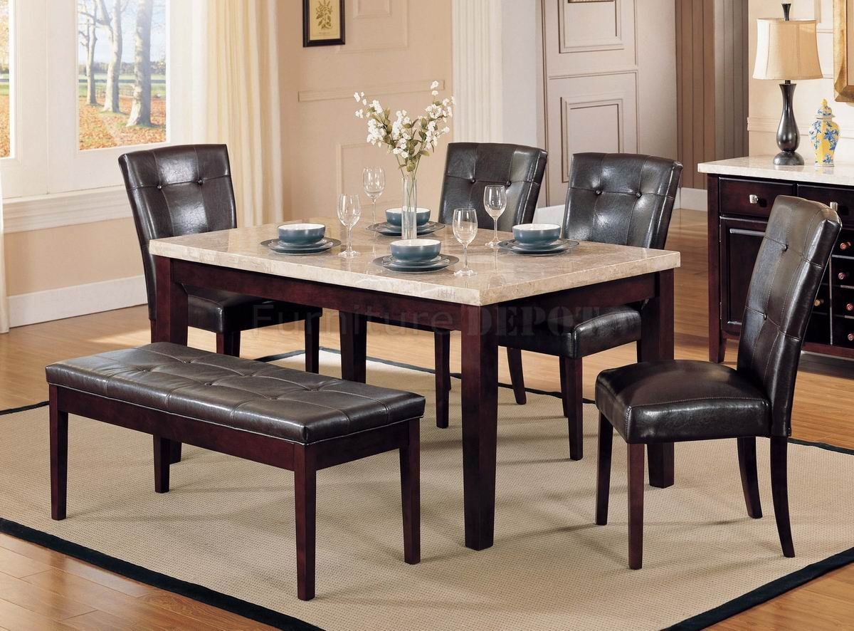 Dining Room Affordable Marble Dining Table For 4 Brown Leather Dining Chairs With Bench Above Laminate Wood Dining Table Marble Leather Dining Chairs Furniture
