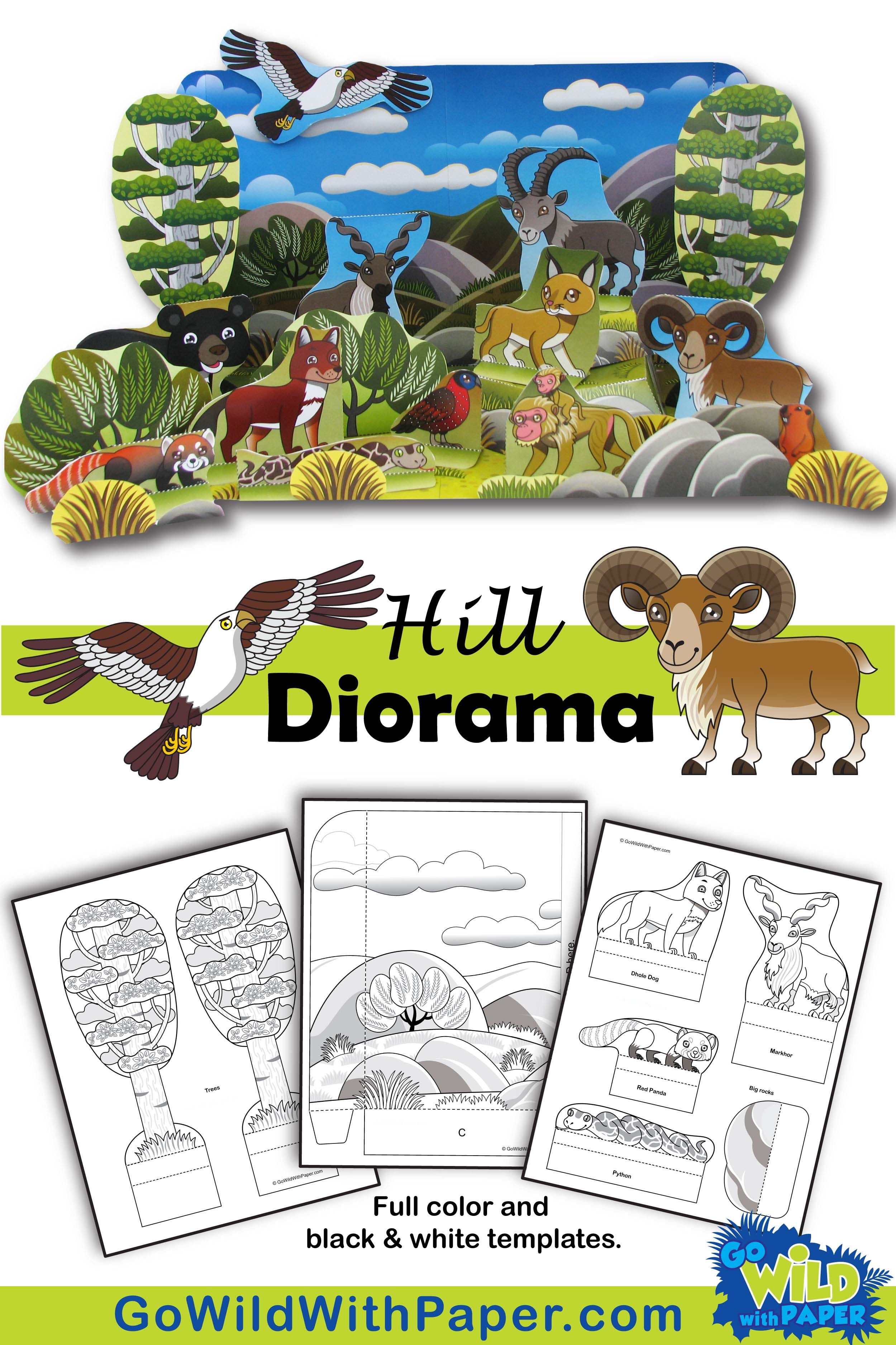 Hill Diorama Project Animal Habitat Activity Template Habitat Activities Animal Habitats Diorama