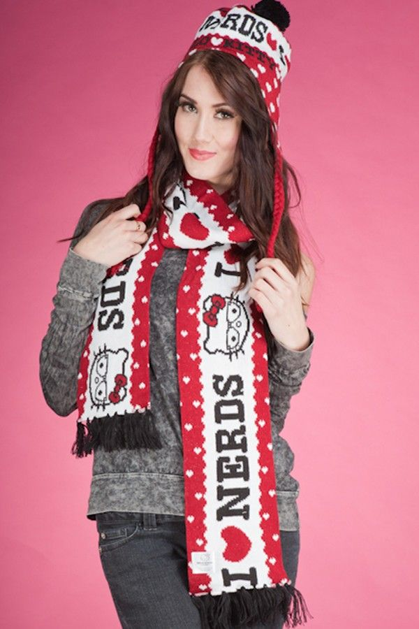 RED PRINT SOFT HELLO KITTY SCARVES AND HAT