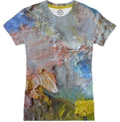 Impasto wearable art photo tee brushstrokes paint by aeolia