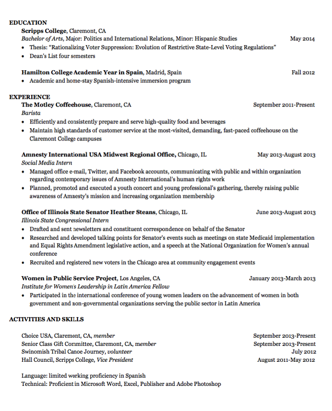 Examples Barista Resumes  HttpExampleresumecvOrgExamples
