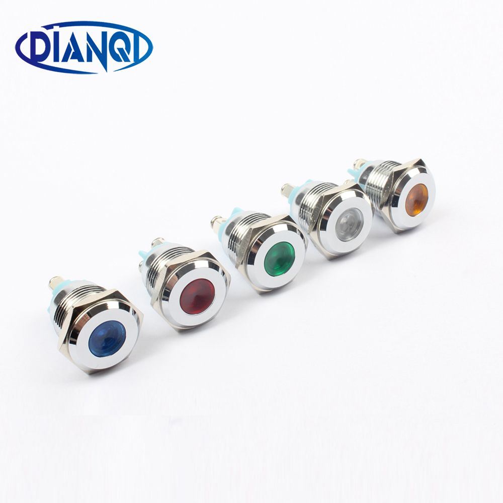 Led Metal Indicator Light 16mm Waterproof Signal Lamp Light 3v 6v 12v 24v 220v Screw Connect Red Yellow Blue Yellow Blue And White Indicator Lights Lamp Light