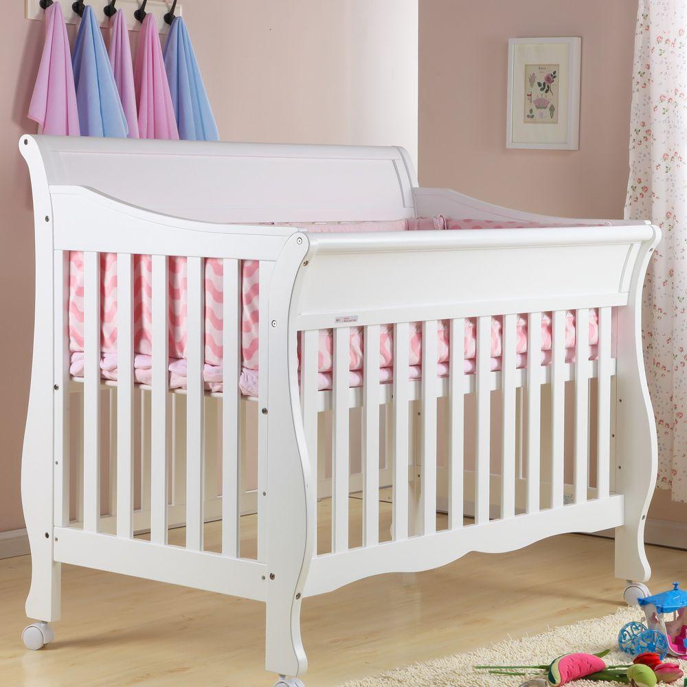 Cama cuna de beb de la manera de la pintura respetuoso for Cuna madera blanca