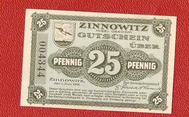 Germany Zinnowitz 25 Pfennig Pf 1921 Banknote Notgeld Insel Usedom Bank Notes Paper Money Social Security Card