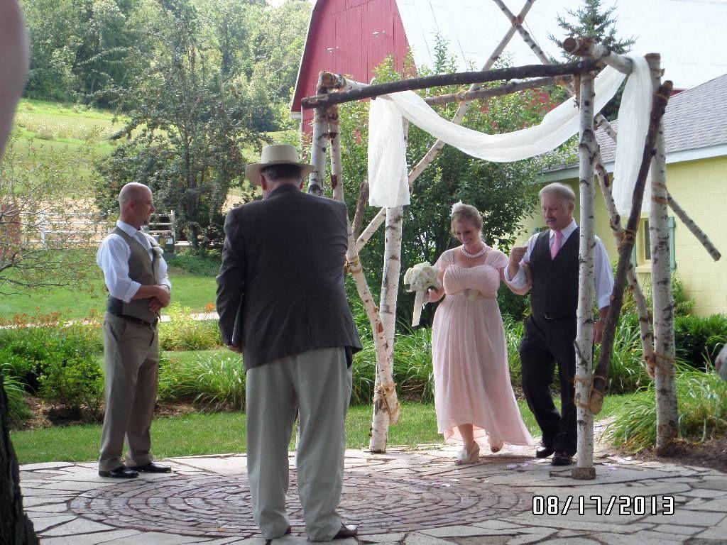 Aug 17, 2013 Haugh-Tollackson wedding on patio in east garden under 125-year-old Silver Maple tree @ Justin Trails Resort near Sparta Wisconsin. www.facebook.com/justintrails more info www.justintrails.com