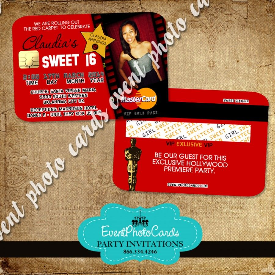 Awards Hollywood -Credit Card Style, Sweet 16 or Sweet 15 | Sweet 16