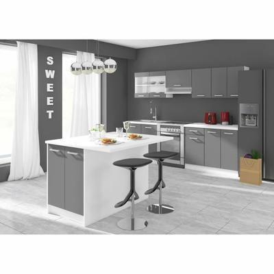 ALCEO Ilot de cuisine L 100cm avec plan de travail inclus - Gris mat - Table De Cuisine Avec Plan De Travail
