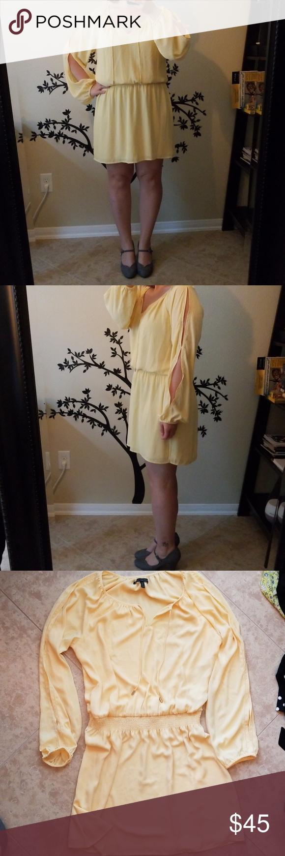 Whbm yellow dress long sleeves my posh picks pinterest yellow
