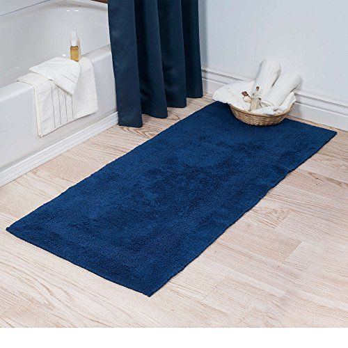 Single Piece Cotton Reversible Long Navy Bath Rug 24 X 60 Non Skid Backing Dry Off Solid Color Pattern Conte Navy Bath Rug Bath Rugs Sets Target Bath Rug