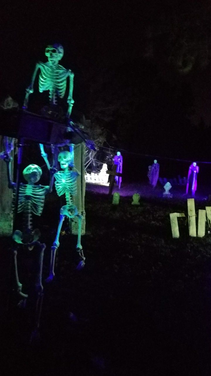 glow in the dark halloween decorations. black light cemetery