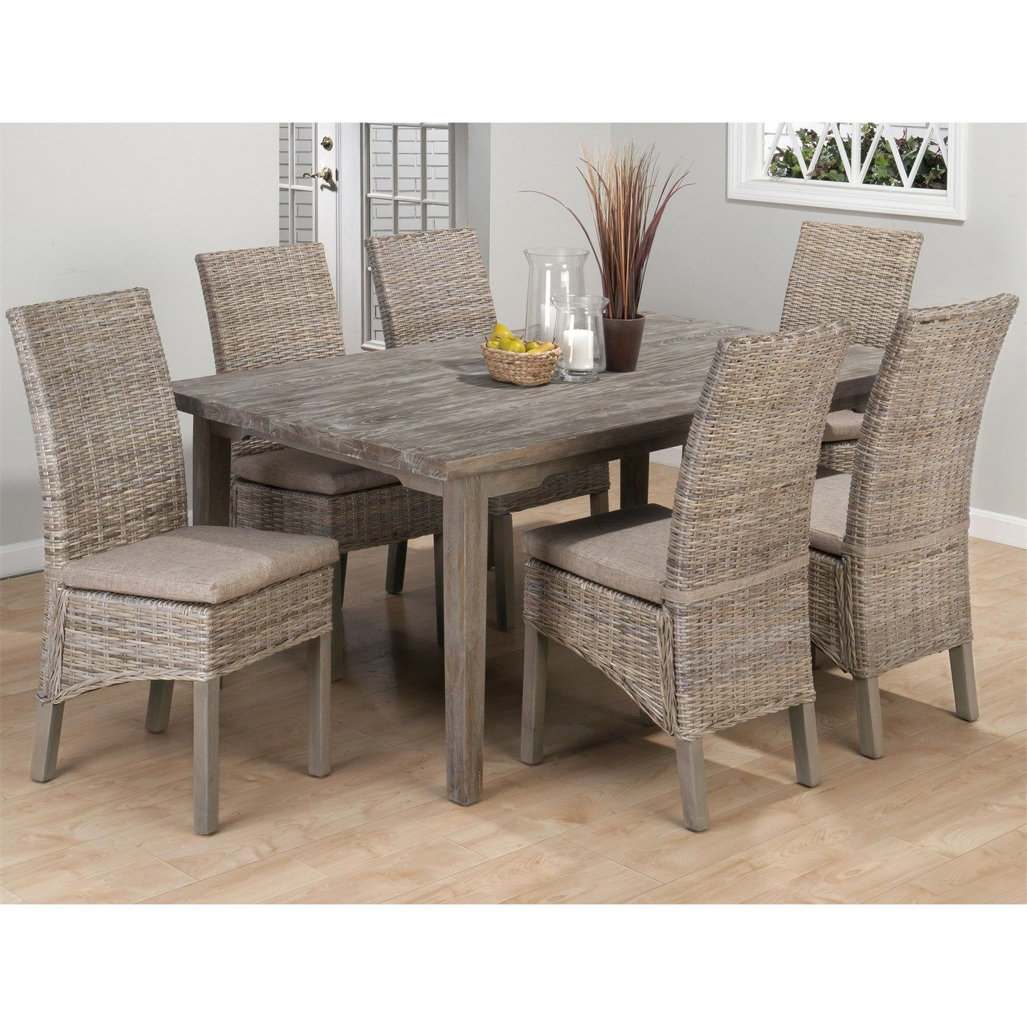 Jofran 856-871 Coastal Kubu Rattan Dining Side Chair with Oatmeal ...