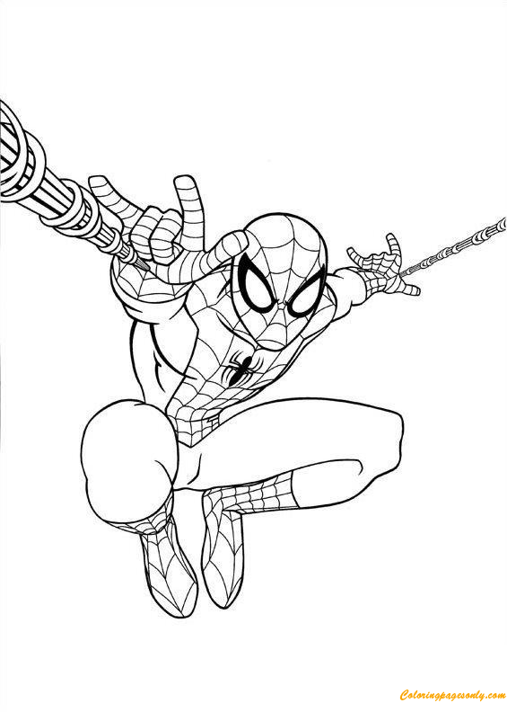 Spiderman Jumping Coloring Page Spiderman Coloring Coloring Books Coloring Pages