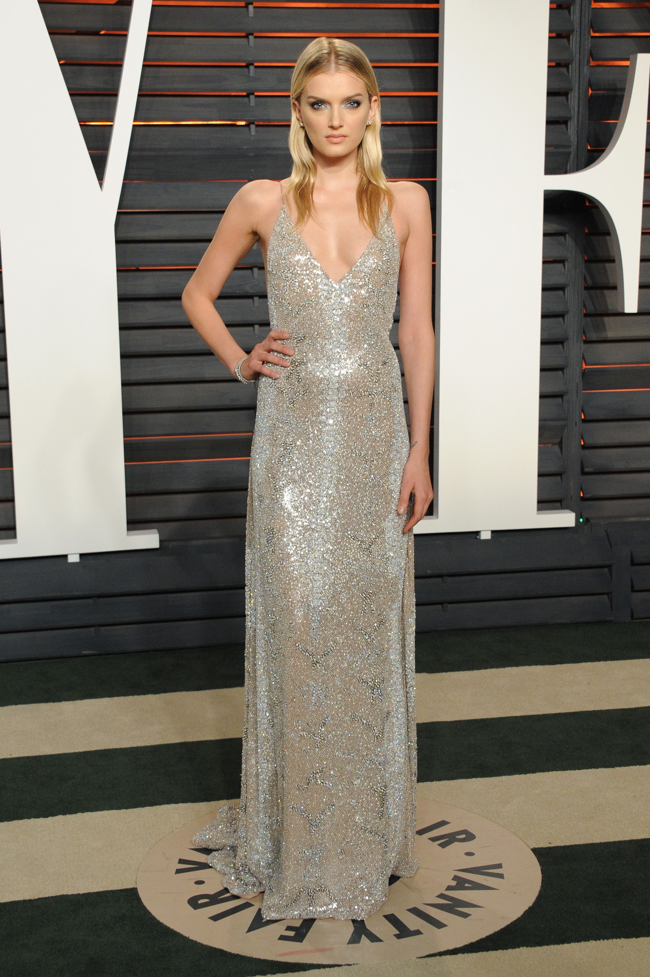 Model lily donaldson at the vanity fair oscars afterparty wearing