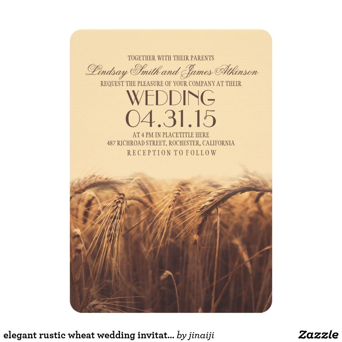 Elegant rustic wheat wedding invitations | Country fall, Summer ...