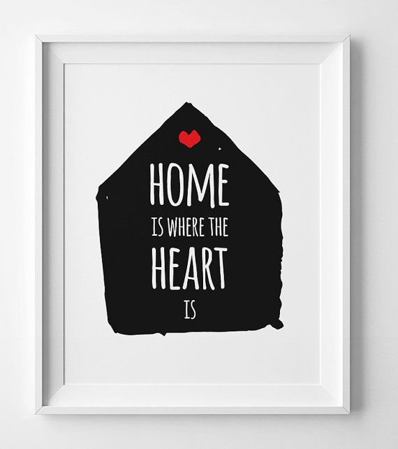 Motivational Wall Decor Typography poster Home is where