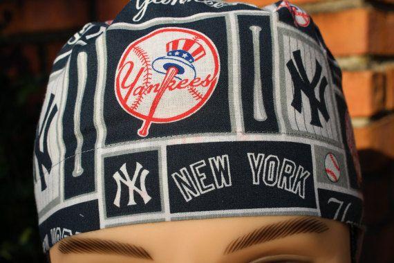 f10efc5033d0e Men s Scrub or Baseball Hat made from New York Yankees Navy blue geometric  print fabric