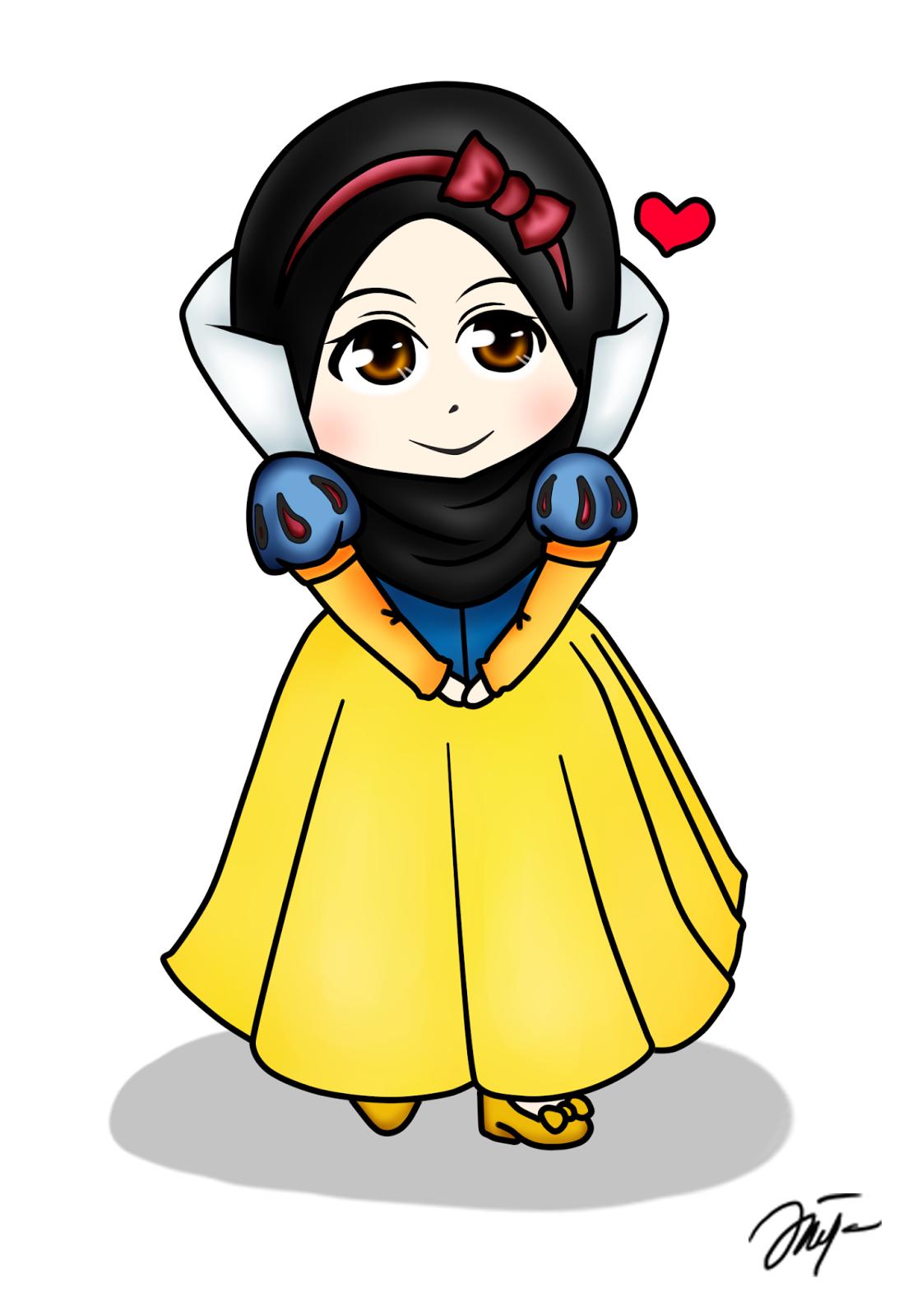 Diya Hanun Chibi doodle Disney Princess Hijab Version Part 1