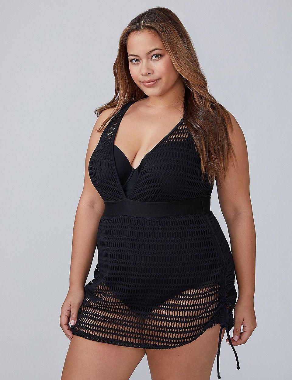 580a246699 Crochet Mesh One-Piece Swim Dress with Built-In Balconette Bra ...