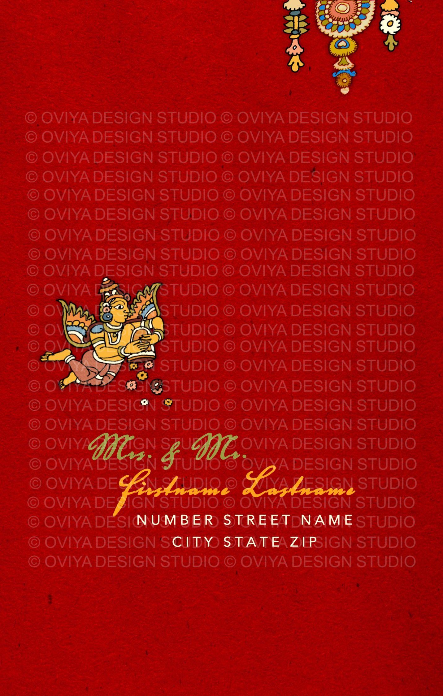 South Indian Kalamkari Inspired Wedding Card Envelope Front Indian