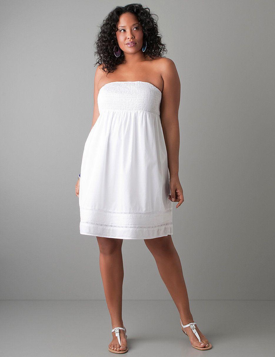 Fashion Bug Lane Bryant White Dress Summer Smocked Strapless Dress White Short Dress [ 1215 x 935 Pixel ]