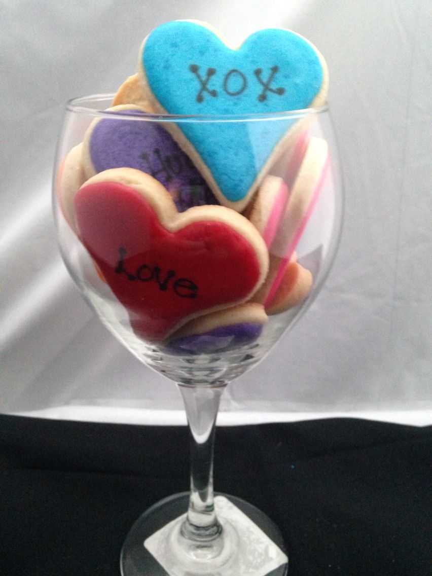 A Glass Full Of Love Conversation Hearts For Your Sweet Love Valentine S Day Sugar Cookies Love Is Sweet Sugar Cookies
