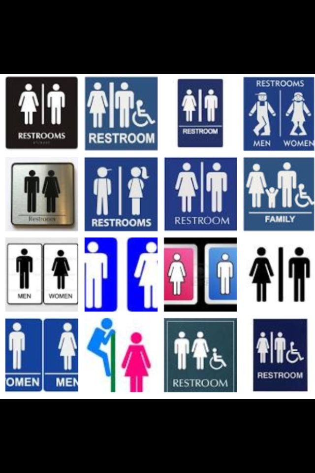 Restroom signs. Like them.