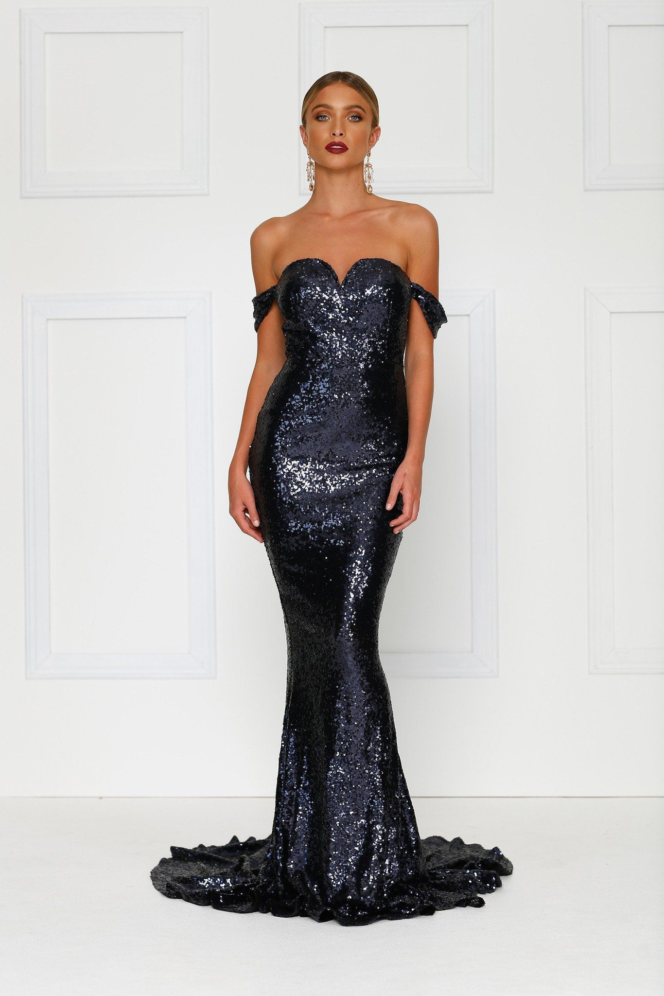 372544282e2d Jonquille - Navy Off Shoulder Sequin Dress with Sweetheart Neckline