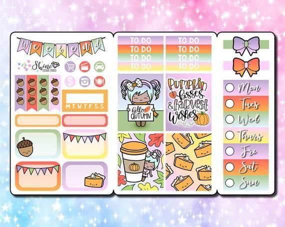 Luna Hello Autumn - Pocket Size Traveler's Notebook Stickers - Planner Erin Condren Life Planner ECL #helloautumn