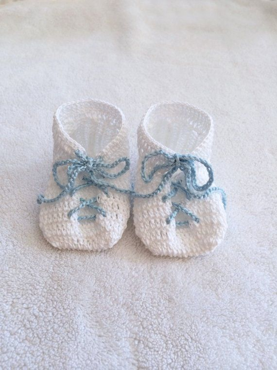 8610568e3a22 Hand Knit Baby Booties Gift - White - Baby Blue Lace Up Detail - Baby  shower gift - Baby gift - Nurs