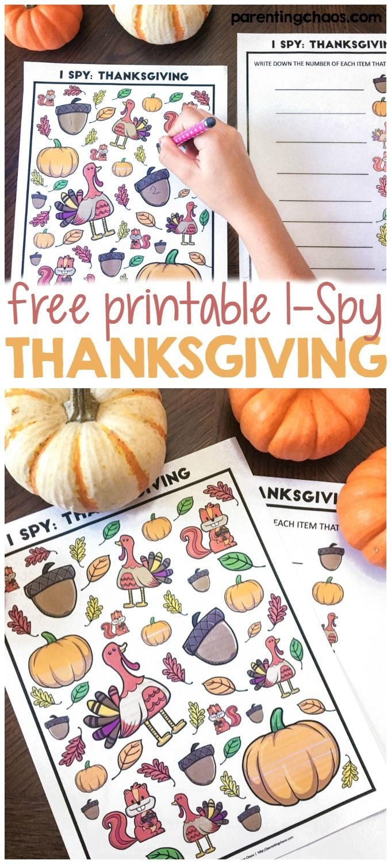 Free Thanksgiving I Spy Printable Game For Kids