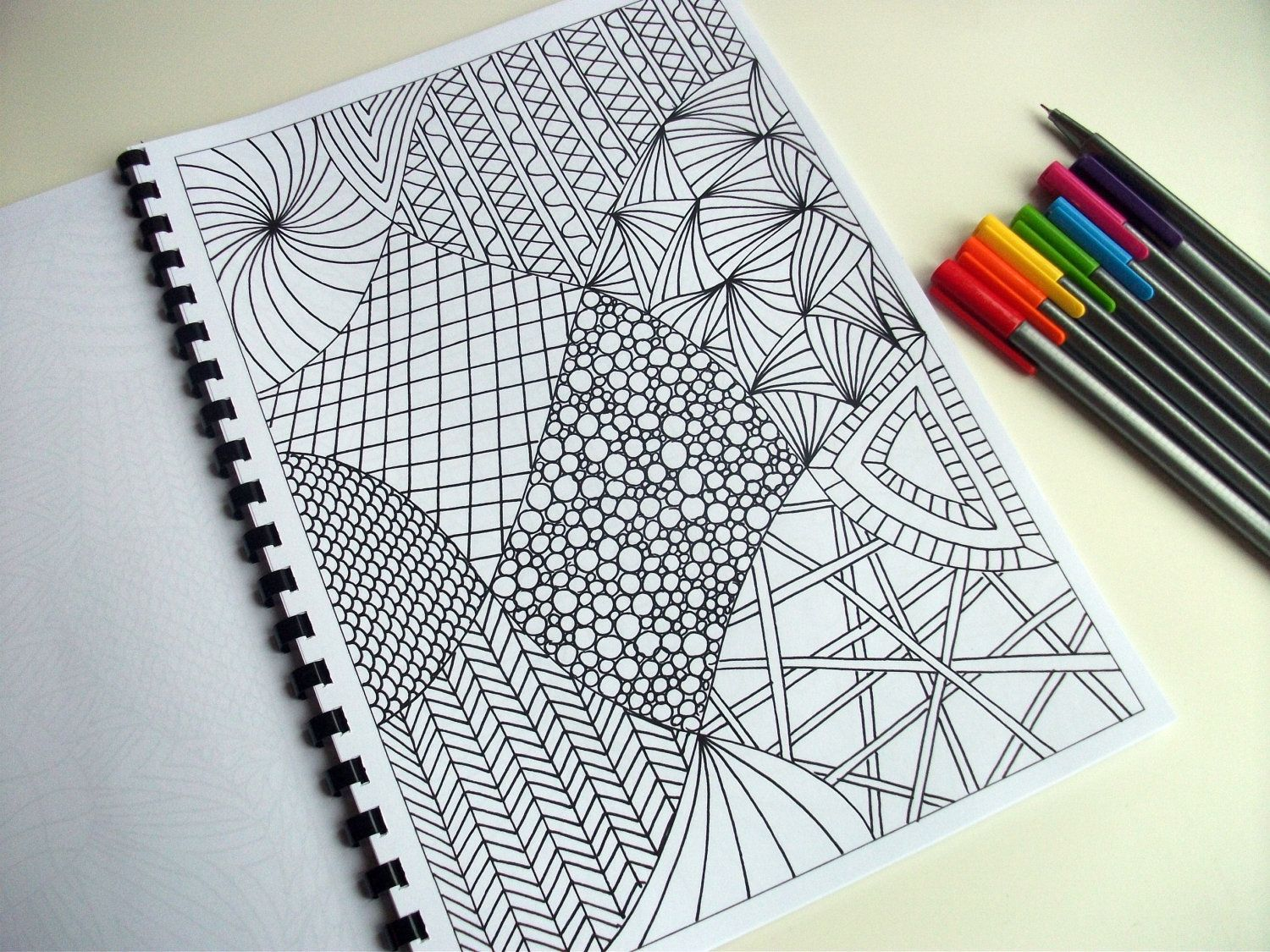 Easy Doodle Art Designs : Printable coloring page zentangle inspired abstract art