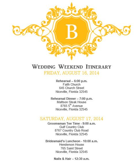 Wedding itinerary Wedding itinerary template bridetodo – Wedding Agenda Template