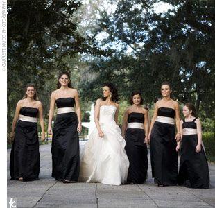 I like the idea of a black bridesmaid dress with a white sash ...