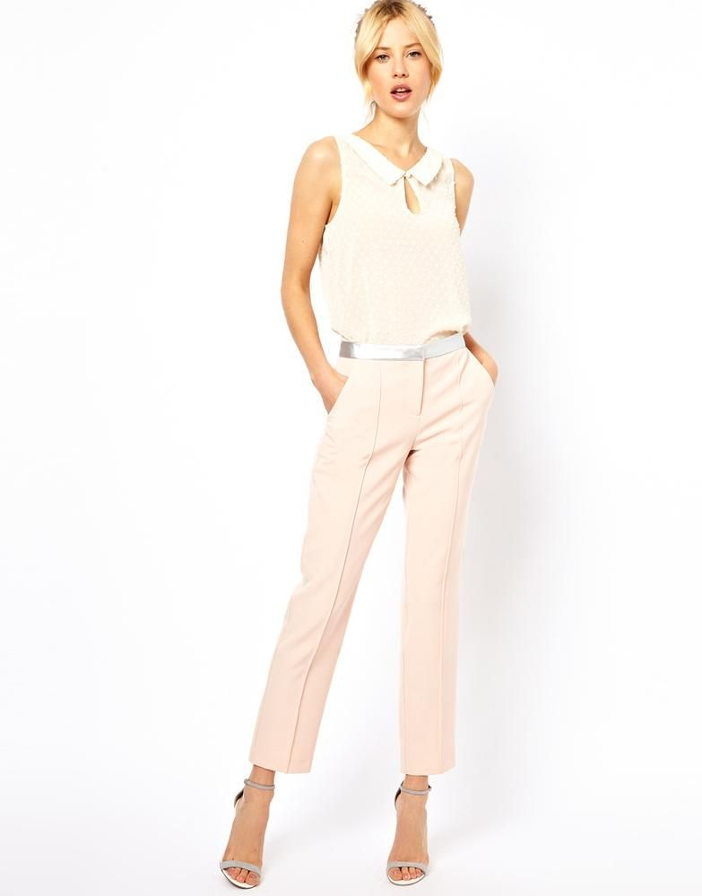 Women's Fashion Clothing ASOS Pants in White with Metallic Waistband