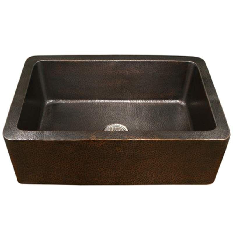 Houzer Hw Cop11 Antique Copper Hammerwerks 32 3 8 Single Basin Farmhouse Hammered Copper Kitchen Sink With Apron Front In 2020 Single Bowl Kitchen Sink Copper Kitchen Sink Sink