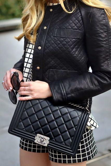 5e4e50b15 Bolsa chanel preta look quadriculado   Street Style em 2019   Bags ...