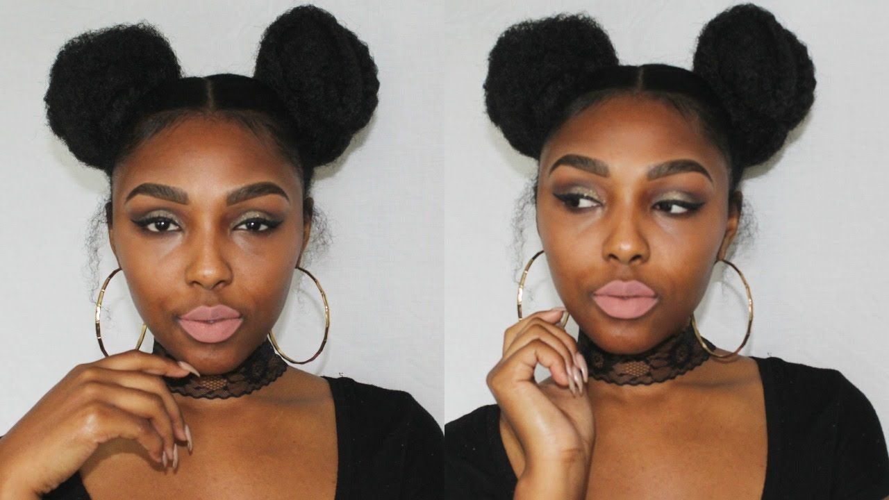 Natural Hair Space Buns 2 Buns With Marley Hair Curly Bun Hairstyles Marley Hair Bun Marley Hair