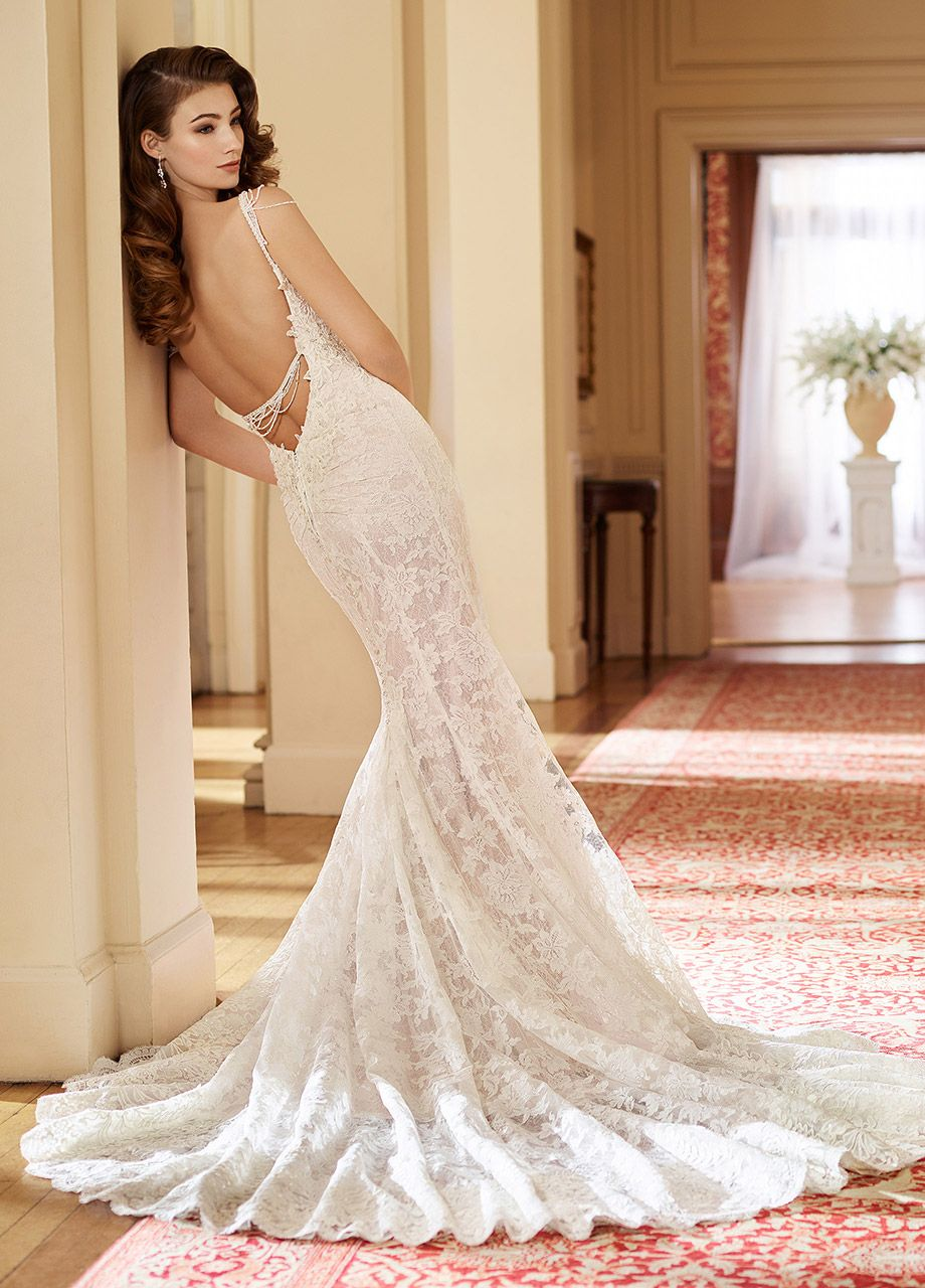 7a96696ed4a Martin Thornburg 217228 Florence - Sleeveless allover Alencon lace and  sequin tulle over satin fit and