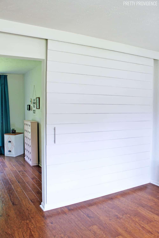 Sliding White Shiplap Barn Door Divider Wall In 2019 Interior