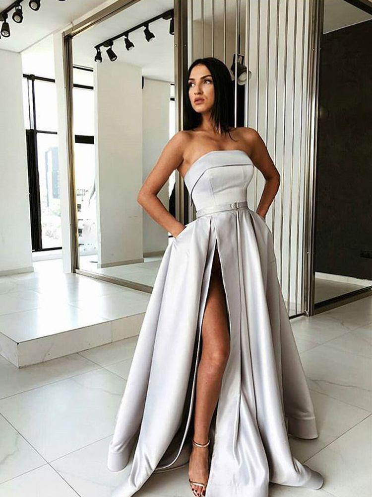 5dd9daa2eb1 Modest Strapless Light Grey Satin Long Prom Dresses with Pockets ...