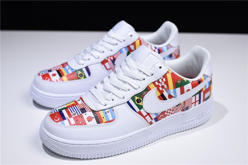 """reputable site cd742 3c0a1 2018 Nike Air Force 1 Low """"International Flags"""" White Multi-Color"""