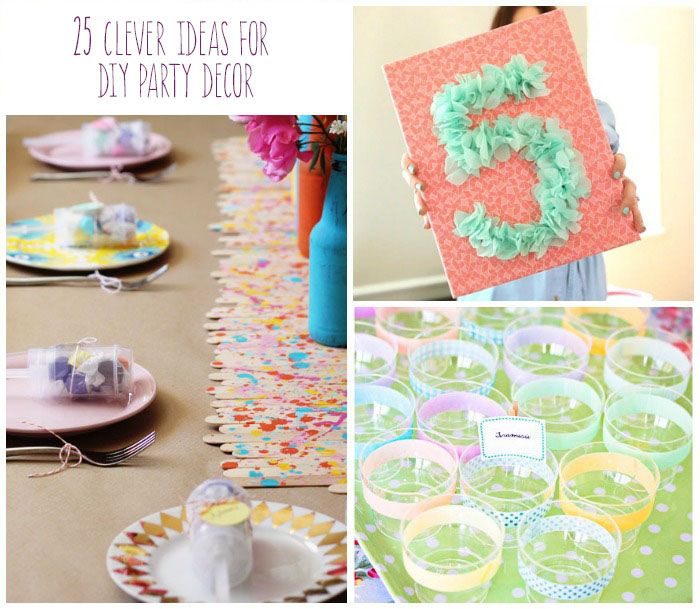 25 Clever Ideas for DIY Party Decor I like the confetti balloons and tablecloth.