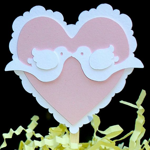 Hearts and Love Birds Wedding Cupcake Toppers set by SwankCrafter