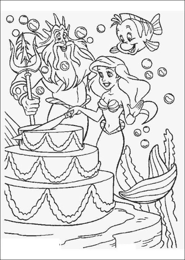 Pin By Katie On Little Mermaid Party Ariel Coloring Pages Disney Coloring Pages Happy Birthday Coloring Pages