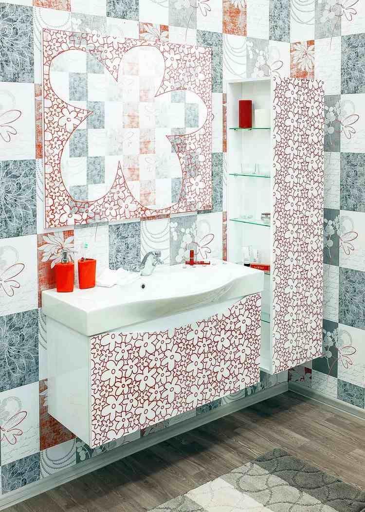 Salle de bain design avec meubles orn s de motifs floraux sol imitation parq - Salle de bain imitation parquet ...
