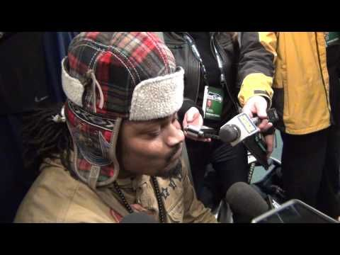 """Seattle Seahawks' Marshawn Lynch's one word responses to reporters after game against the Cardinals on Sunday, November 23, 2014. They can't fine him for trying to get over his fear of public speaking this time. Way to """"Beast Mode"""" the paparazzi!! lol"""