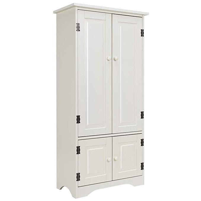 Amazon Com Giantex Accent Floor Storage Cabinet Adjustable Shelves Antique 2 Door Low Floor Accent Storage Cabinet Adjustable Shelving White Storage Cabinets