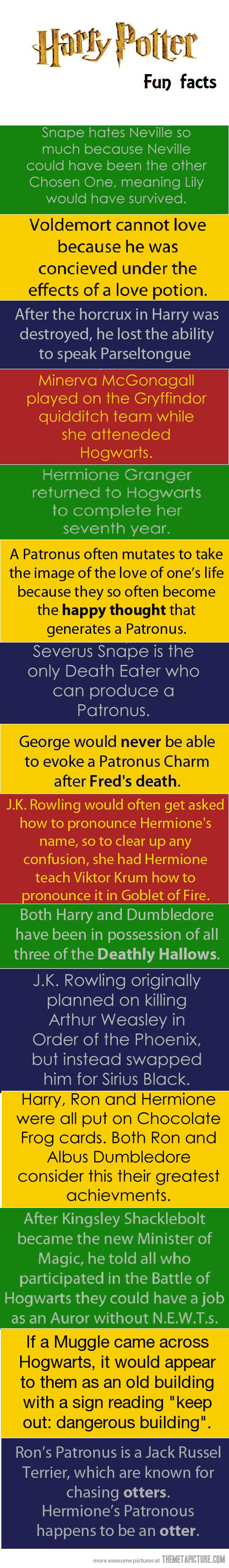 Harry Potter facts. <3