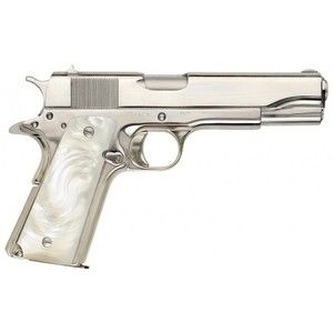 Colt M1911A1 Nickel Plated with Pearl inserts I'd take this! I would