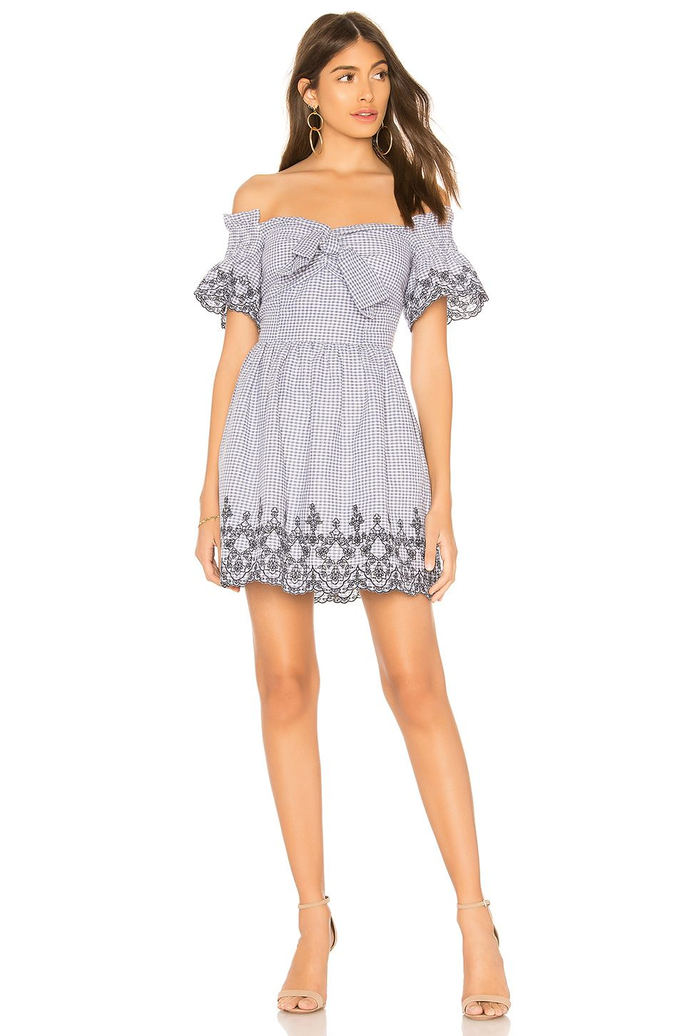 74976d591f J.O.A. Off The Shoulder Embroidered Dress in Blue Gingham | Sewing ...